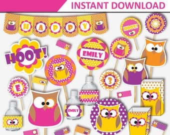 Owl Birthday - Owl Party - Owl Party Decorations - Girl Owl Birthday - Owl Birthday Decorations - Owl Girl Birthday (Instant Download)