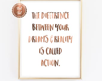 Motivational Quote // COPPER typography print // The difference between // Office quotes // Office decor // Inspiring poster wall art print