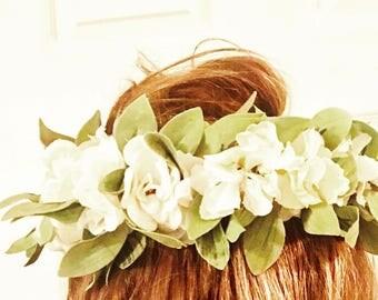 Headband Floral Hair Piece--Artisan Made--Floral Crowns--Head Crowns-Wedding CRowns--Florals For Hair--Bridal Hair Piece
