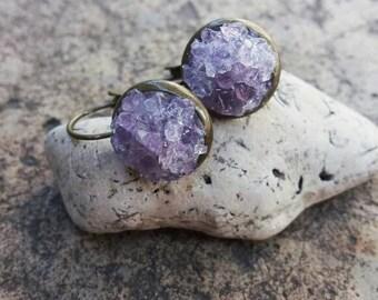 Amethyst earrings Gift for girlfriend Amethyst stone earrings Dangle earrings Purple earrings Amethyst jewelry Gift for her Gift for women