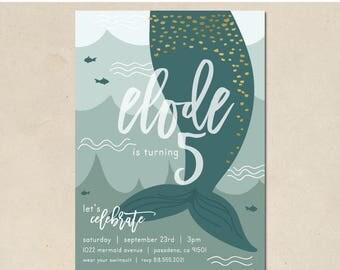 mermaid birthday invitation - hand illustrated - under the sea party - baby shower - little mermaid - gold mermaid- DIY - custom - printable