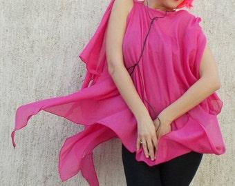 Pink Silk Top / Silk Cotton Summer Top / Pink Blouse / Plus Size Silk Top TT43