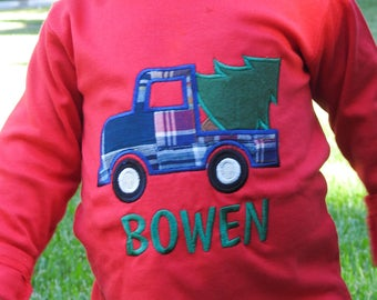 Boy Christmas Tree Truck Shirt with Embroidered Name - M40