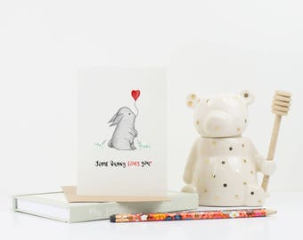 Some Bunny Loves You card- valentines card- anniversary card