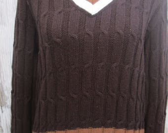Vintage Brown White V Neck Tennis Sweater, Campus Cable Knit Ringer