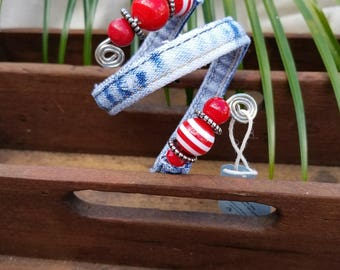 Small Recycled Denim Bracelet Made From Inseam of Blue Jeans Adorned with Red Beads