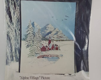 "Vintage Paragon Needlecraft Creative Crewel Stitchery Kit, ""Alpine Village"", Embroidery Kit, Crewel Embroidery, Needlepoint"