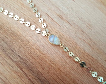 Rainbow Moonstone 14K Gold Filled Y  Coin Necklace / Lariat / Pear Moonstone  Necklace /  Moonstone Y Necklace / Gold Edged / Stone Jewelry