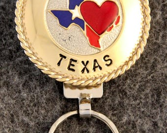 IN STOCK - Unless personalized - Heart of Texas Key Chain -  Brass Bezel - Brass Roping - Keychain for Him or Keychain for Her!