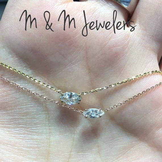 14K Yellow and Rose Gold Marquise Diamond Solitaire Necklace