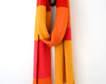 Stupidly Long Luxurious Striped Shetland Wool Scarf - Bright Orange, Pink, Yellow, Red.