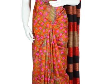 Orange Color Dupion Silk Printed Saree