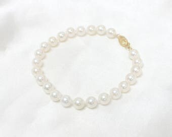 Akoya Pearl Bracelet AAA Japanese Saltwater Culture Pearl 14k Solid Yellow White Gold