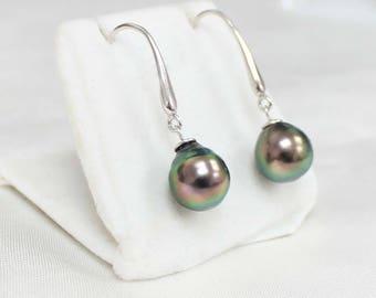 9.5mm Drop Tahitian Pearls on Hook Sterling Silver Stud Earrings