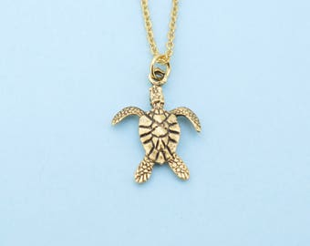 """Sea Turtle necklace in gold plated pewter on an 18"""" gold plated cable chain. Sea Turtle necklace.  Sea Turtle jewelry.  Turtle charm."""