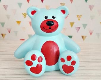 Blue and Red Teddy Bear Piggy Bank, Teddy Bear Piggy Bank, Bear Piggy Bank, Piggy Bank, Bank, Baby Bank, Blue Baby Bank, Blue Teddy Bear