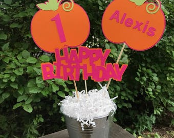 Pumpkin Birthday Centerpiece, Pumpkin Centerpiece, Pumpkin Party Decorations, Pumpkin Birthday- CHOICE OF COLORS