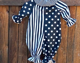 Ready to Ship: 18 Months, Clown Costume in Black and White, Stripes and Dots