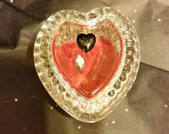 Black Heart Ring Box-Clear Glass Reliquary-created from upcycled materials-OOAK