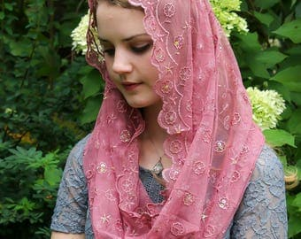 Evintage Veils~ Light Rose  Beaded Embroidered Lace Chapel Veil Mantilla Infinity Veil Latin Mass + SIX Colors!