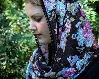 Evintage Veils~Black Floral  Lace with Vintage-Style Trim Wrap Mantilla Floral Vintage Inspired Lace Chapel Veil Scarf Mantilla-