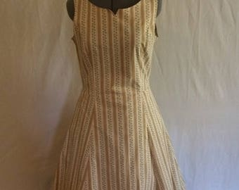 Vintage April Cornell Soft Yellow Striped Summer Dress