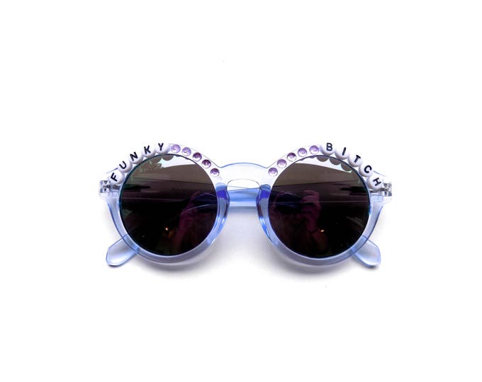 """Phish """"Funky Bitch"""" hand decorated sunglasses, Phish embellished sunglasses, funky festival shades inspired by Phish"""