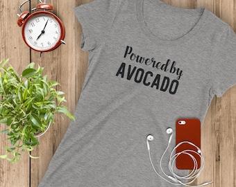 Powered By Avocado Women T-shirt   Vegan Tshirt   Plant Based shirt   Vegetarian Apparel  Cute Vegan Shirt   Avocado lovers   Gift idea  