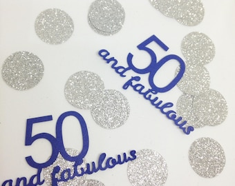 50 & Fabulous Large Table Confetti - 50th Birthday Party Decoration - 50 and FAB - Fiftieth Silver Mix