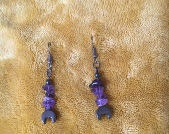 Amethyst and Hematite Moon Earrings