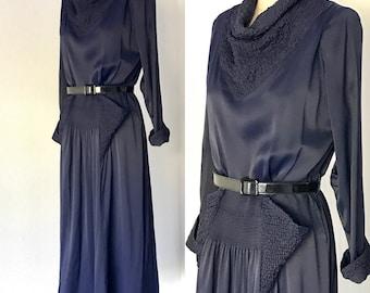 Vintage 40's Navy Silk Satin Smocked Day Dress l M