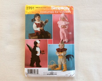 Simplicity Pattern 2791 - Costumes for Toddlers - Skunk, Rooster, Poodle, and Pirate - Sizes 1/2-1-2-3-4  UNCUT