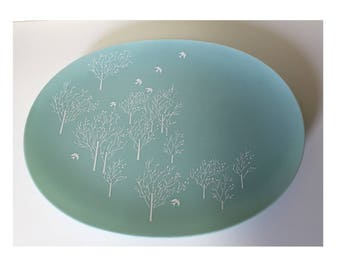 """Lucent Melmac Platter in Raymond Loewy Morning Song Pattern 15"""" by 12"""" Distinctive Melamine Serving Plate Mid Century Moderne"""