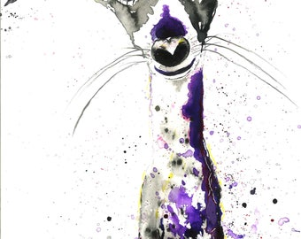 Dog Print, Lurcher print, Ink Art, signed mounted A5 and A4 prints