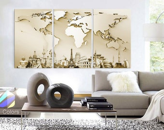 """LARGE 30""""x 60"""" 3 Panels Art Canvas Print Wonders of the world 3D Map Beige travel Wall decor Home interior (framed 1.5"""" depth)"""