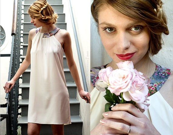White summer dress. short bridal dress cocktail dress, Japanese fabric. wedding, bridesmaids, ceremonie,cocktail. Other Colors available
