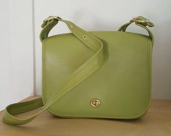 Large Olive Lime Green Shoulder Purse - Vintage