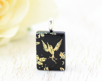 Small Fused Glass Pendant-Dichroic Glass Necklace-Black and Gold Pendant-Hummingbird-Dichroic Glass Jewelry-Fused Glass Jewellery. JBT486