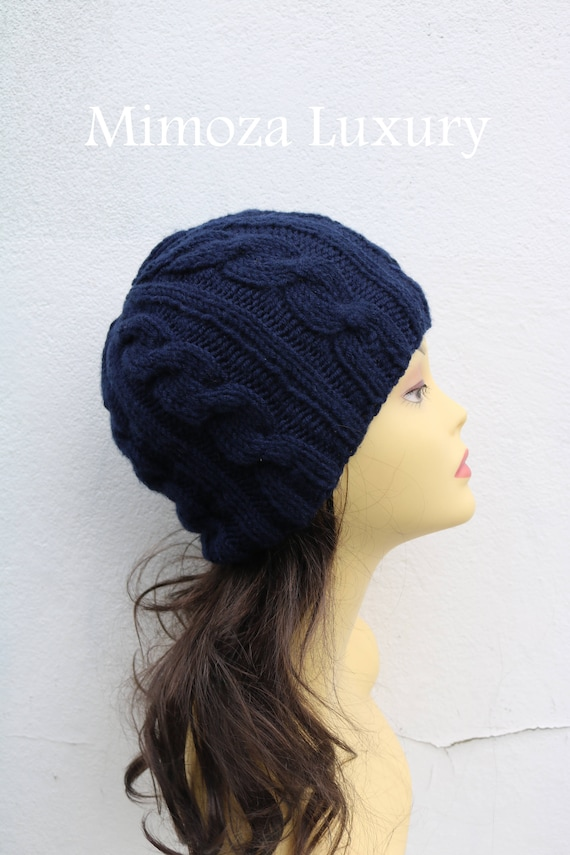 Navy women's Beanie hat, Hand Knitted Hat in navy, blue beanie hat, knitted mens, womens beanie hat , navy autumn winter beanie hat, ski hat