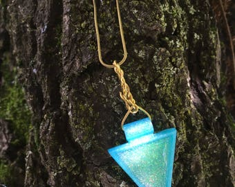 Turquoise and Green Iridescent Triangle Necklace