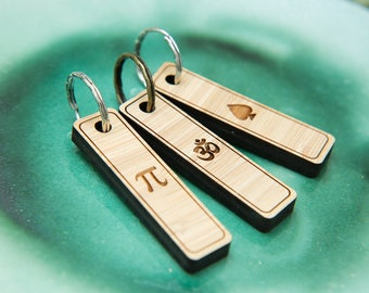 Bamboo wooden keychains, keyring with Pi symbol, Ohm symbol and Ace of Spades symbol. Ohm keyring. unique key rings. Mens key chains.