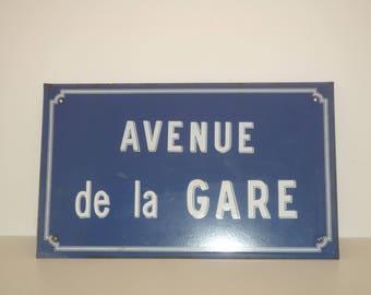 Railway Station Avenue / AVENUE De LA GARE Antique French  Enamel Porcelain Street Sign 1930 / 1950 Train