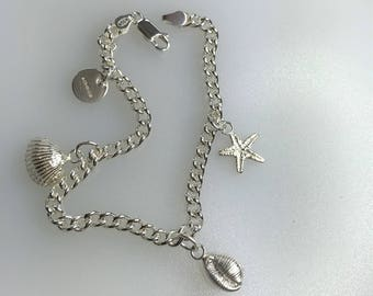 Silver Seaside Bracelet with Starfish, Shell and Cowrie Shell Charms