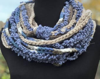 Chunky Crochet Scarf Infinity Scarf Crochet Infinity Scarf Chunky Infinity Scarf Chunky Crochet Neckwarmer Chunky Warmer Crochet Rope Scarf
