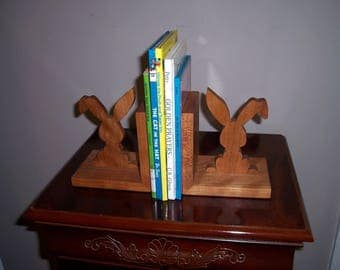 Bunny Bookends-Children's Bookends-Solid Cherry Bookends