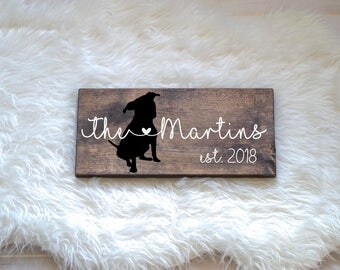 Last Name Wood Sign with Pitbull Silhouette, Wedding Signs, Last Name, Wedding Gift, Dog Wedding Gift, Anniversary Gift, Entryway