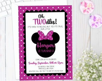 MINNIE MOUSE Birthday Invitation | Girl 2nd Birthday Invite | Printable | Pink, polka dots, oh twodles | Digital, download