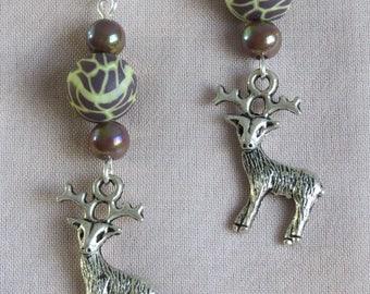 Kitsch deer & polymer clay Stud Earrings