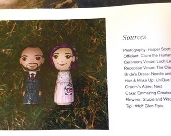 Rock-N-Roll Wedding/Bride with purple hair/Cake Topper - approx. 6 cm tall