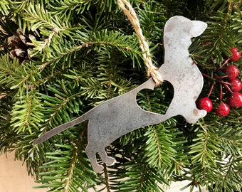 Dachshund Love Rustic Christmas Ornament Metal Dog Pet Heart Christmas Tree Decoration Holiday Gift Industrial Decor Wedding By BE Creations
